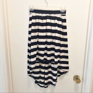 XHILARATION navy blue + white stripe hi low skirt